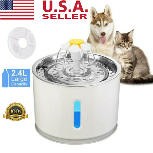 2.4L Automatic Dog Cat Electric Water Fountain Pet Bowl Drinking Filter Healthy $22.60