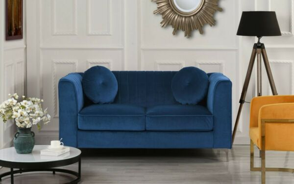 Blue Contemporary Sofa Plush Velvet Living Room Loveseat With Two Accent Pillows