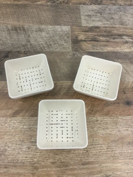 """Lot Of 3 Ceramic Dishes Small 4"""" Square Bowls Ramekins Dip Sauce Dots amp; Lines $17.99"""
