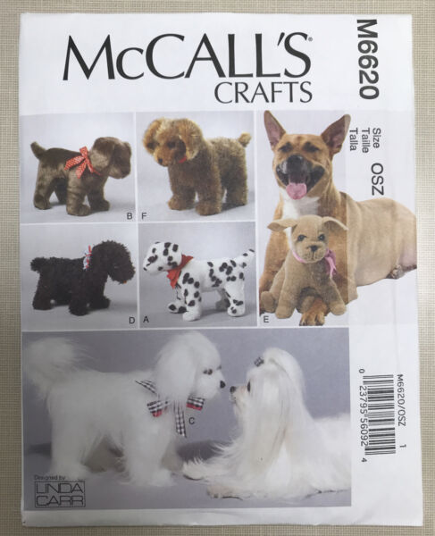 UNCUT OOP McCalls Crafts Pattern 6620 Stuffed Soft Dogs 6 styles 5 small 1 large $8.99