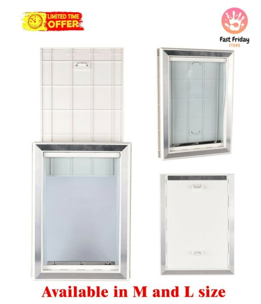 Extreme Weather Pet Door Dog Doors Exterior Cat Entry Large Dogs Heavy Duty M L $49.99