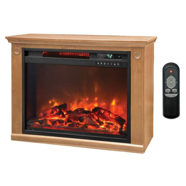 LifeSmart 1500 Watt Large Infrared Quartz Electric Fireplace Heater Open Box
