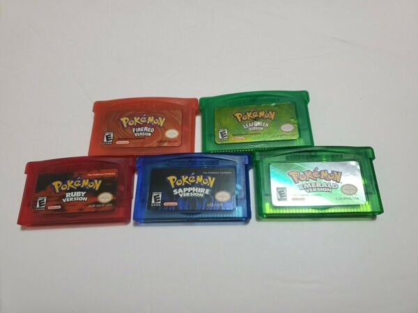 Pokemon Emerald Fire Red Leaf Green Sapphire Ruby GBA Gameboy Advance US