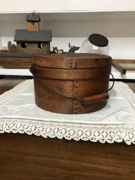 Antique Thick Walled Pantry Box With Wooden Bail Handle AAFA
