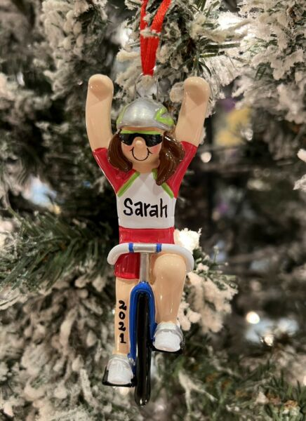 WORKOUT FITNESS BIKE RIDING RIDE MAN BOY PERSONALIZED CHRISTMAS TREE ORNAMENT $11.95