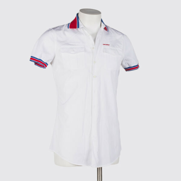 DSQUARED2 Shirt M 48 White Red Blue Contrast Short Sleeve with 2 Pockets $108.00
