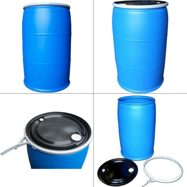 55 gal. open top plastic industrial drum with lid and lock band off color $143.99
