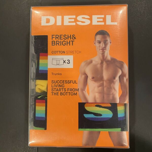 NIB DIESEL Cotton Stretch Boxer Trunk 3 Large Rainbow Gay Pride Black Yellow Grn $34.99