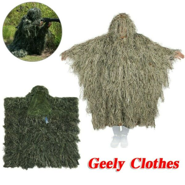 3D Ghillie Suit Poncho Woodland Dersert Camouflage Clothing for Jungle Hunting