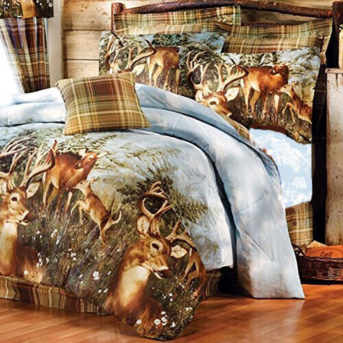 WHITETAIL DEER Buck HUNTING Lodge Cabin Plaid COMFORTER SETSHEETS Bed in a Bag