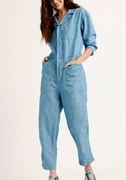 LUCKY BRAND XS L XL Surplus Jumpsuit Coveralls Boiler Suit Denim Linen Mechanic $89.00