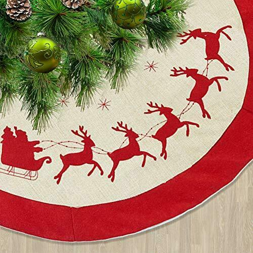 48 Inches Burlap Christmas Tree Skirt Rustic Tree Mat with Double Layers