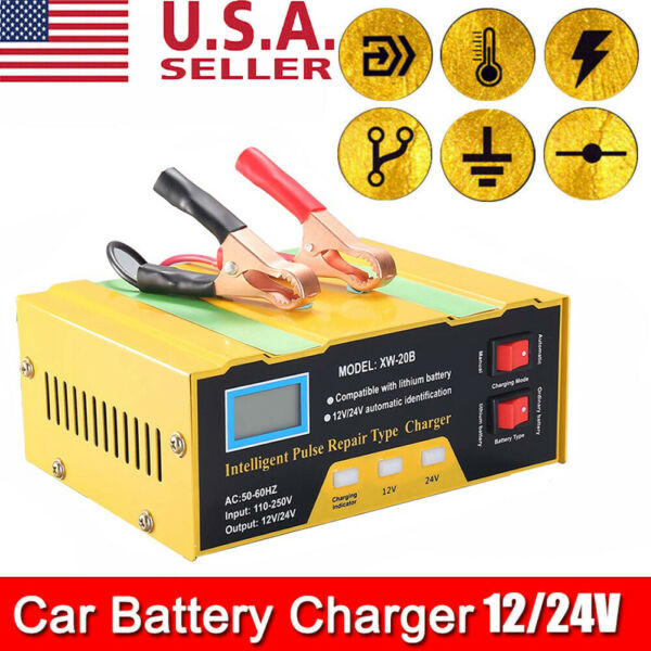 12 24V Smart Pulse Repair Car Battery Charger Automatic LCD Display Lead Charger $27.99