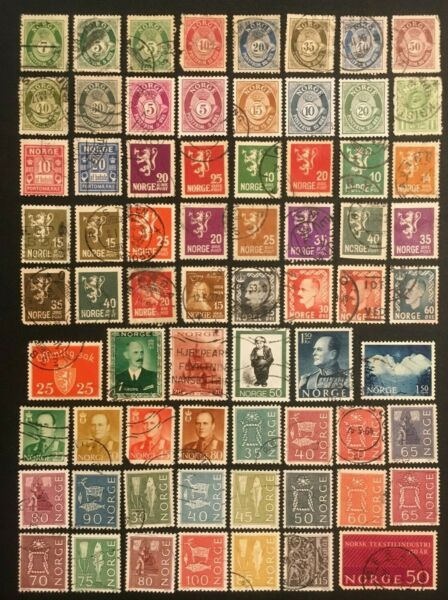 NORWAY COLLECTION OF MOSTLY OLDER STAMPS 2 PICS $3.00