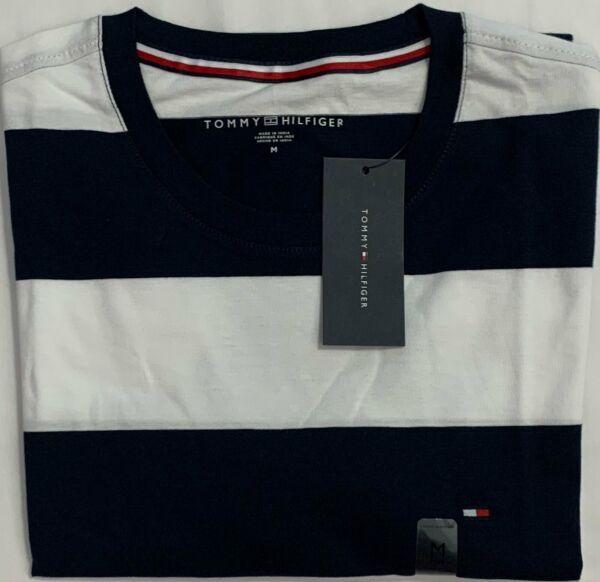 New Tommy Hilfiger Men#x27;s Short Sleeve T Shirt Navy Block Stripe Size M $21.00 $21.00