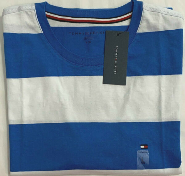 New Tommy Hilfiger Men#x27;s Short Sleeve T Shirt Blue Block Stripe Size L $21.00 $21.00