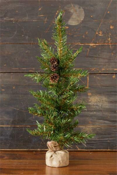 New Primitive CHRISTMAS TREE Charlie Brown PINECONE Rustic Woodland Burlap 24quot;