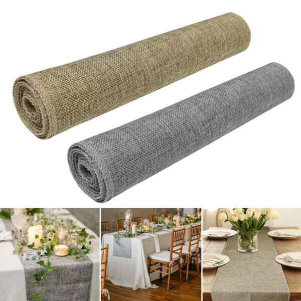1 5 10pc Retro Linen Natural Burlap Jute Table Runner Wedding Tablecloth Banquet