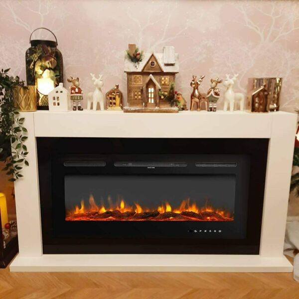 40quot;Electric Fireplace Recessed insert Wall Mounted Free Standing Electric Heater