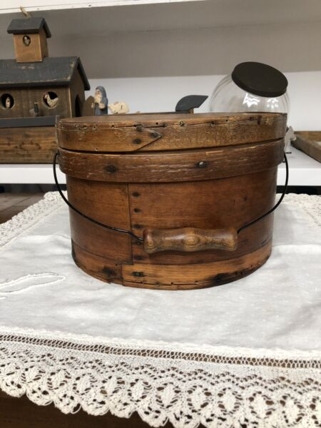 Antique Primitive Thick Walled Bentwood Pantry Box With Handle