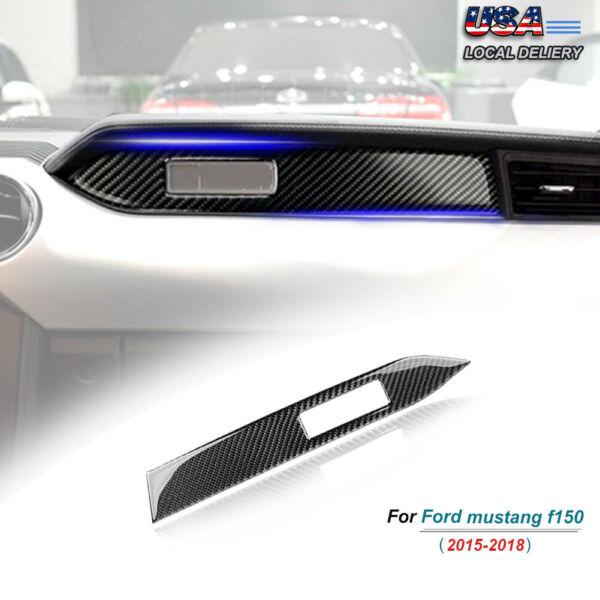 Carbon Fiber Interior Dashboard Panel Cover Trim Fit For Ford Mustang 2015 2019 $11.89