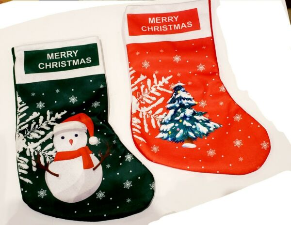 2 Pieces Christmas Stockings Xmas Fireplace Small Hanging Tree snowman 14in