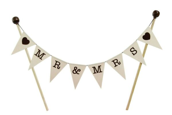 amazing buntings MRamp;MRS Brown Hearts Bunting Cake Topper Fully Assembled Wedd...