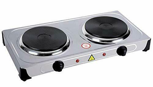 Stainless Steel Portable Electric Dual 2 Burner Hot Plate Stove Top Cook Warmer