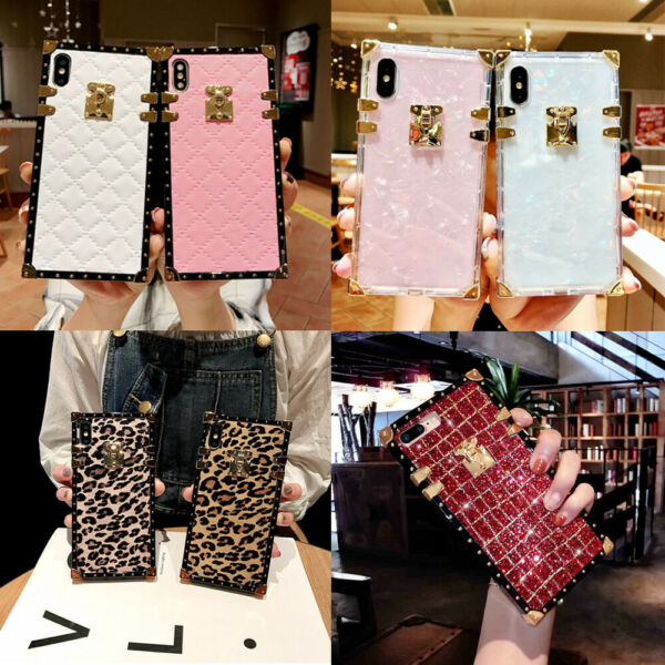 For iPhone 12 Pro Max 11 XS XR 8 7 Luxury Retro Square Marble Glitter Case Cover $9.99