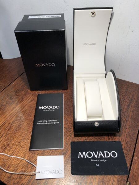 Brand New MOVADO Gentry Long Black Watch Case Cream Interior amp; Snap Closure