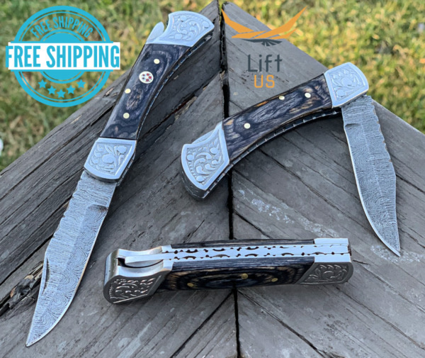 Custom Handmade Damascus Steel Pocket Knife Folding Blade Black Wood Hunting 7quot;