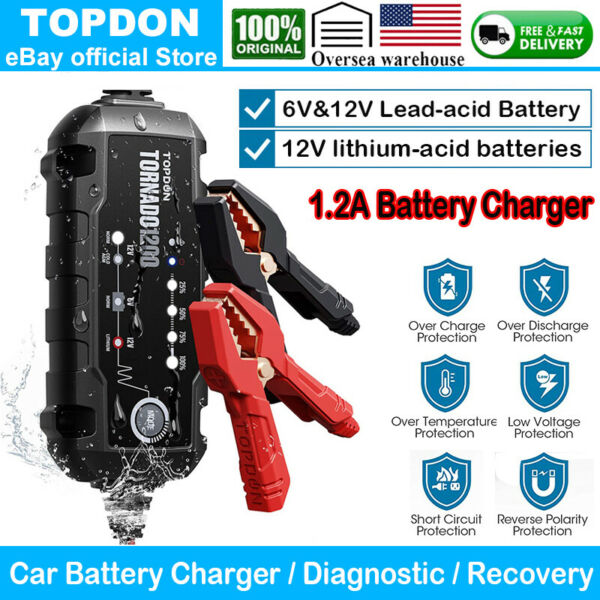 6Vamp;12V Smart Car Battery Charger Maintainer Analyzer for Cold AGM GEL WET IP65 $34.99