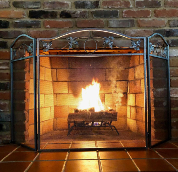 Free Standing Fireplace Screen 3 Panel Indoor Fold Heavy Duty Metal Large Cover