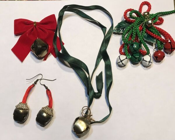 Vintage Christmas Bell Accessories 4 Earrings Pin Necklace $5.99