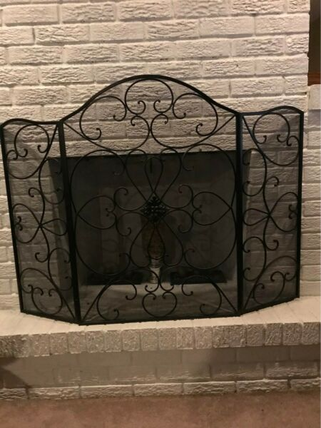 Fireplace Screen Iron Heavy Duty Durable Free Standing 3 Panel Foldable Guard