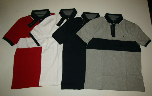 TOMMY HILFIGER Cotton Polo Shirt Red Blue Gray White S M L XL Free Shipping $18.95