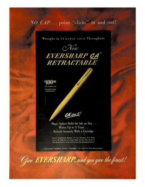 1946 Eversharp Pens Vintage Print Ad Wrought In 14 Karat Gold Throughout