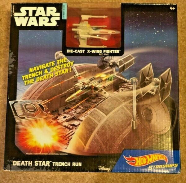 Star Wars Die Cast X Wing Fighter Death Star Trench Run Disney Hot Wheels NEW