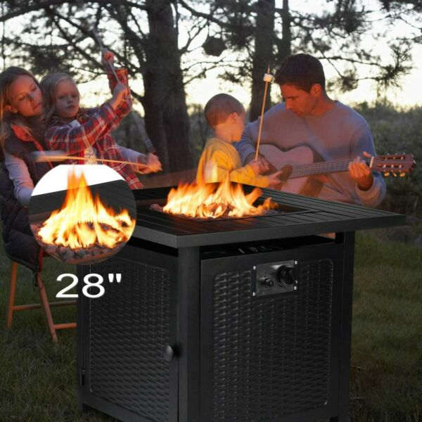 28.5*28.5quot;Propane Gas Fire Pit Table Fireplace Patio Heater Outdoor Camping Gift