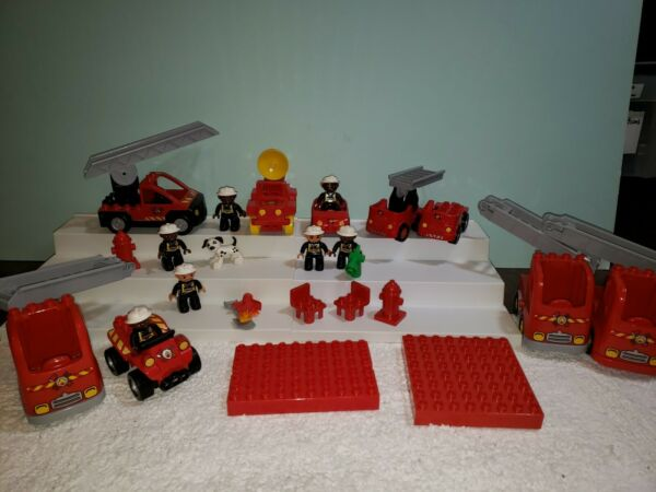 Fire Department Lego DUPLO Collection with Firemen Dalmatian Dog Trucks and More $29.99