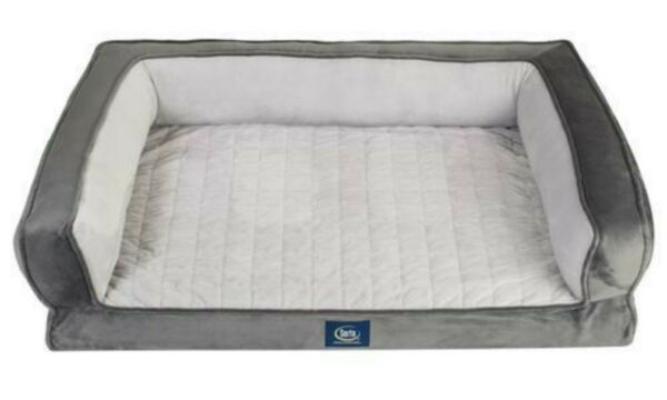 Serta Gel Memory Foam Quilted Bolster Ortho Pet DOG Couch Bed Gray Small NEW $42.85