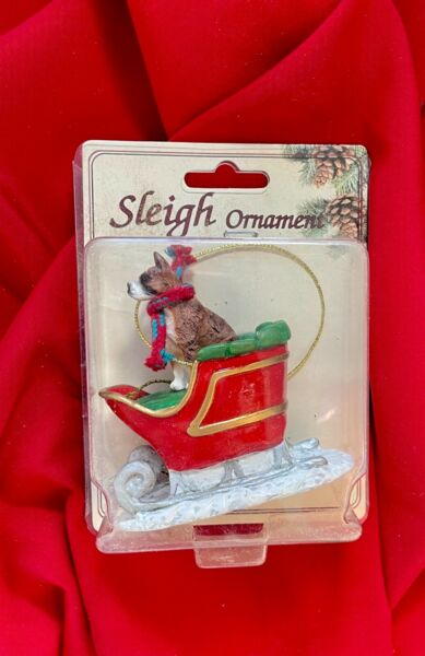 Brindle Boxer Christmas Ornament Sleigh Dog Removable Scarf New $9.50