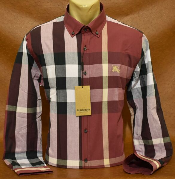 NWT Brand New Men#x27;s BURBERRY Long Sleeve SHIRT Size M to 2XL $57.90