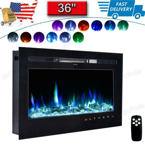 36quot; Fireplace Electric Embedded Insert Heater Glass Log Flame Remote