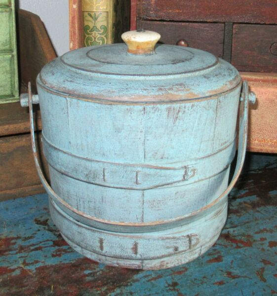 6 3 4quot; Firkin Wood Sugar Bucket Shaker Pantry Box Blue Paint Primitive Porcelain