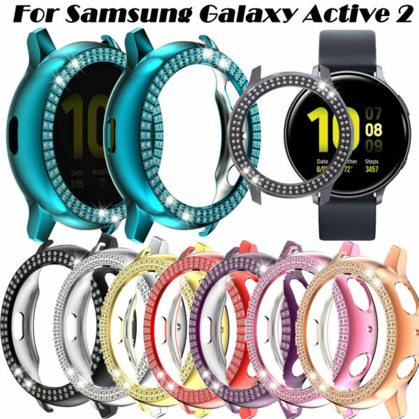 For Samsung Galaxy Watch Active 2 Cover Bling Crystal Screen Protector Case