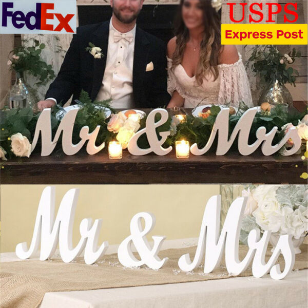 Mr and Mrs Wedding Wooden Sign Wood Letter Decor Party Decoration Table Standing