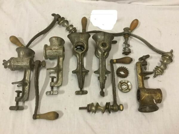 Mix lot of antique meat grinders and parts