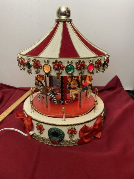 "Holiday Workshop 16"" Vtg Christmas Carousel Light Music Animated Merry Go Round"