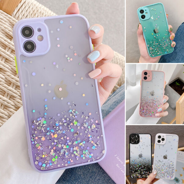 Glitter Powder Shockproof Case For iPhone 12 11 Pro XR XS Max 8 7 Plus SE2 Cover